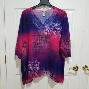 Pink and Blue Tunie with Decorative neckline